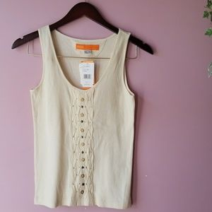 Cynthia Steffe Cream Ribbed Embellished Tank Top
